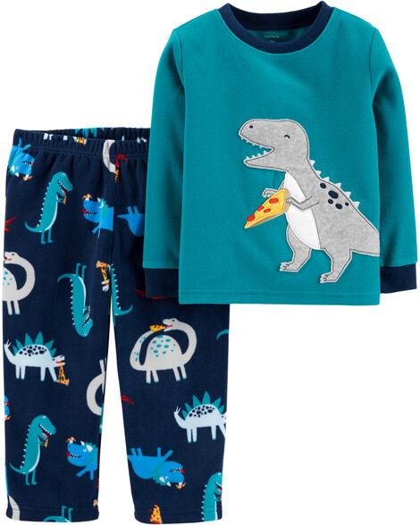 Pyjama  2 pièces en molleton avec dinosaure et pizza