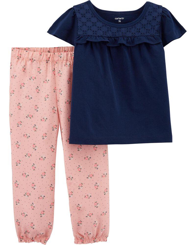 2-Piece Lace Tee & Floral Pant Set, , hi-res