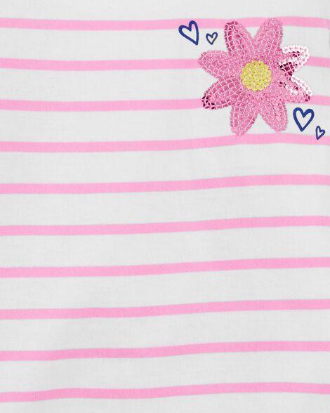 Flower Striped Side-Tie Top