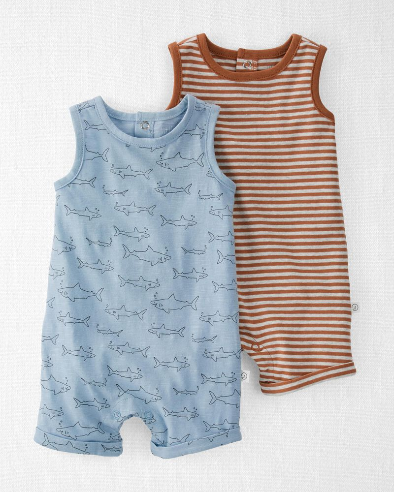 2-Pack Organic Cotton Rompers, , hi-res