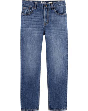 Jeans droit - délavage bleu ancre f...