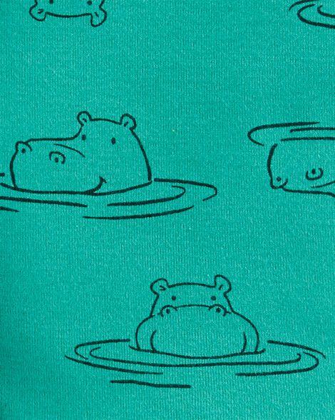 4-Piece Hippo Snug Fit Cotton PJs