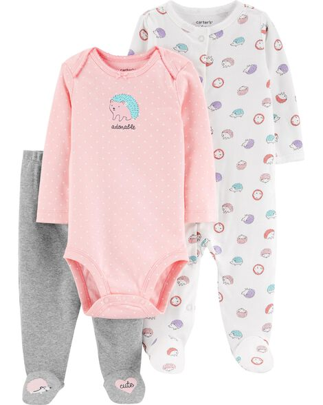 3-Piece Hedgehog Bodysuit & Sleep & Play Set