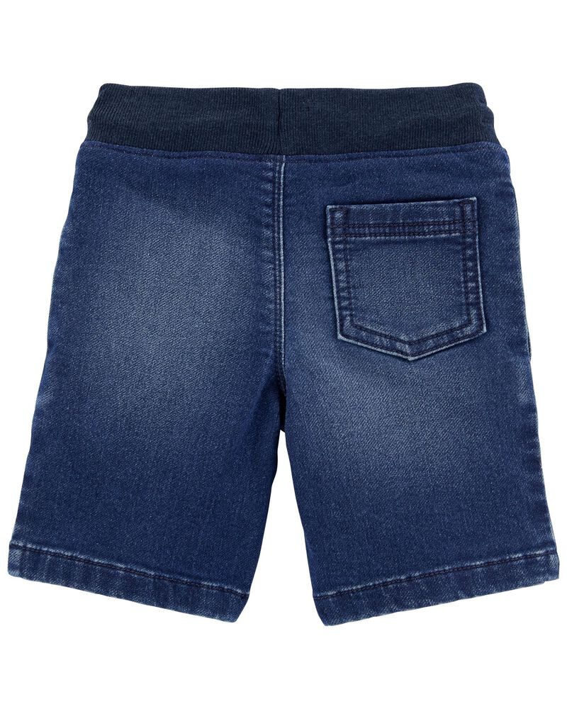 Short à enfiler en tricot de denim, , hi-res