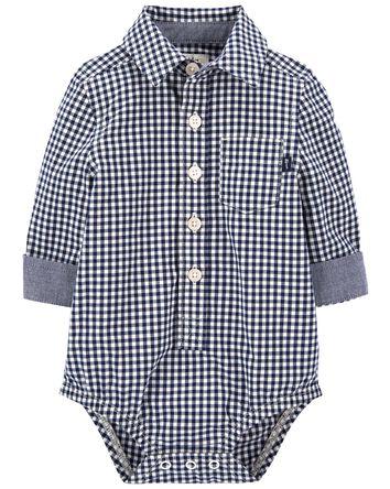 Gingham Button-Front Bodysuit