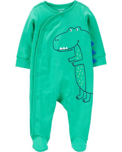 Grenouillère pour dormir et jouer en coton avec boutons-pression et motif dinosaure