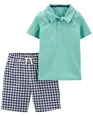 2-Piece Slub Jersey Polo & Gingham...