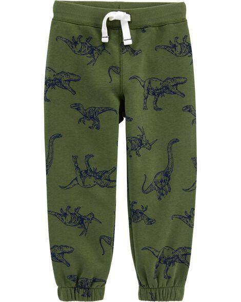 Pantalon de jogging à enfiler doublé de molleton dinosaure