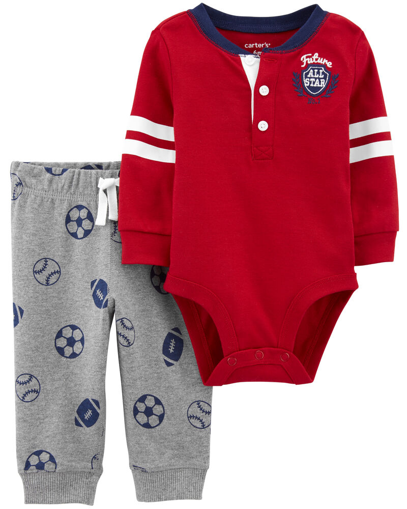 2-Piece Varsity Bodysuit Pant Set, , hi-res