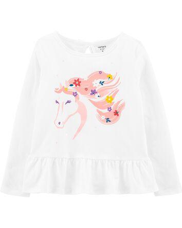 T-shirt en jersey à cheval fleuri e...