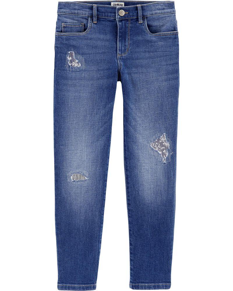 Jeans style déchiré et cousu de coupe décontractée, , hi-res