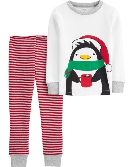Pyjamas 4 pièces en coton ajusté motif de pingouin