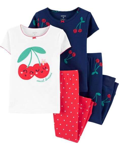 Pyjamas 4 pièces en coton ajusté à motif de cerise