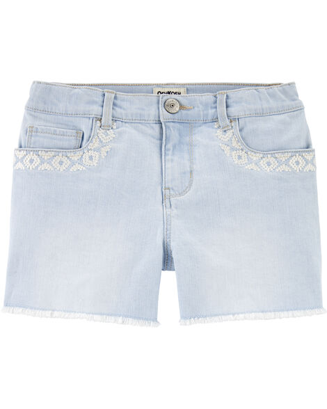 Short en denim extensible à broderie