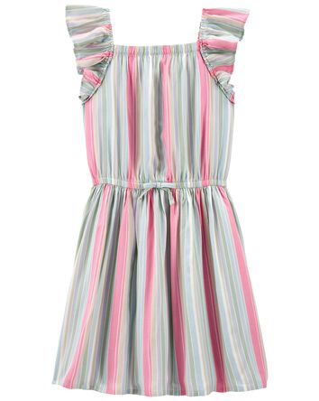 Rainbow Stripe Ruffle Dress