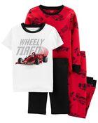 4-Piece Race Car 100% Snug Fit Cotton PJs, , hi-res