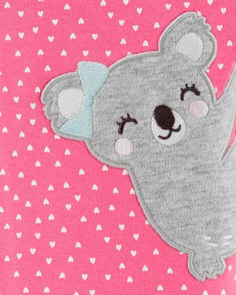 Grenouillère pour dormir et jouer à glissière koala et cœur
