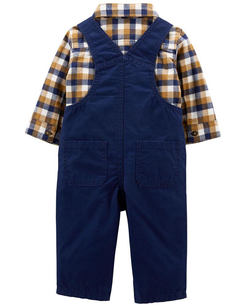 2-Piece Plaid Shirt & Overall Set, , hi-res
