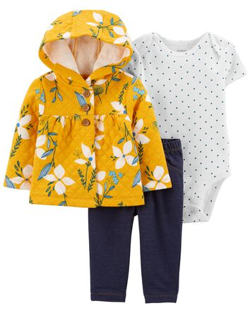 3-Piece Floral Cardigan Set