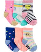 Emballage de 6 paires de chaussettes mi-mollet à icônes, , hi-res