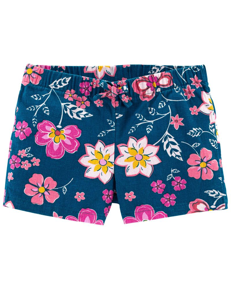 Floral Pull-On Linen Shorts, , hi-res