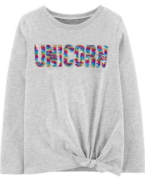 Flip Sequin Unicorn Tie-Front Jersey Tee