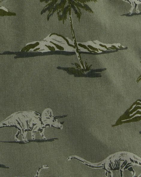 Salopette courte en toile avec motif dinosaures