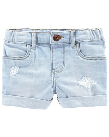 Short en denim extensible déchiré