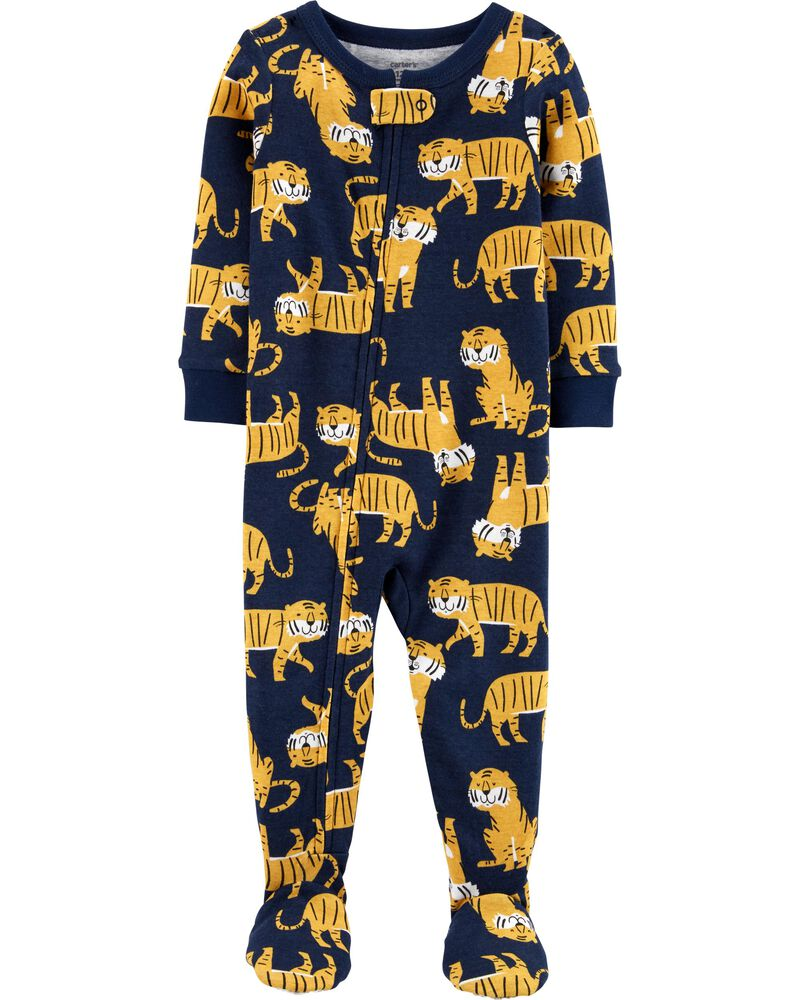 1-Piece Tiger Snug Fit Cotton Footie PJs, , hi-res