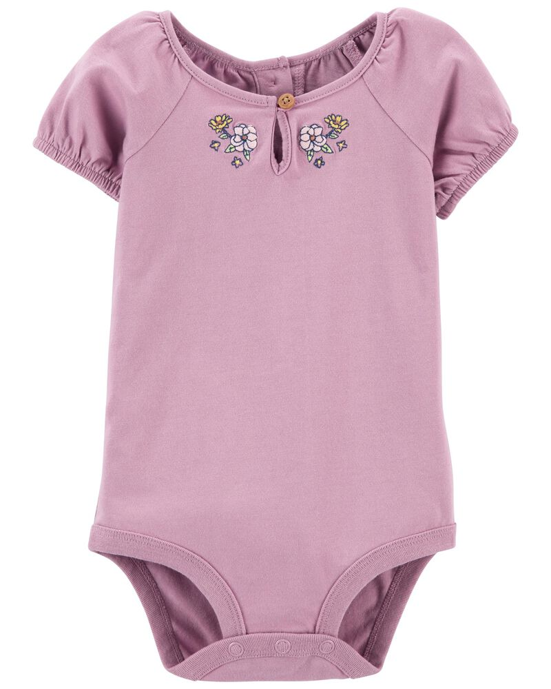 Embroidered Puff-Sleeve Bodysuit, , hi-res