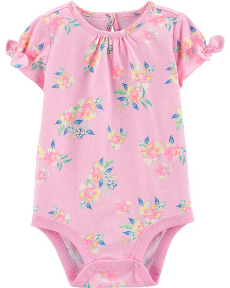 Bow Sleeve Floral Jersey Bodysuit