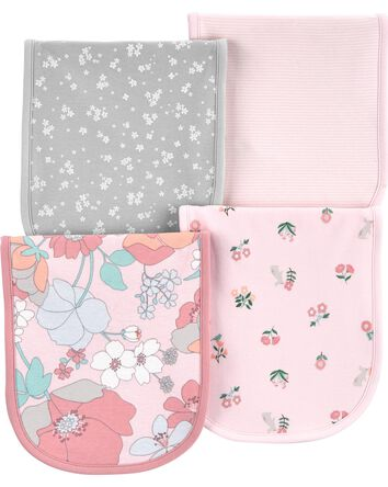4-Pack Floral Burp Cloths