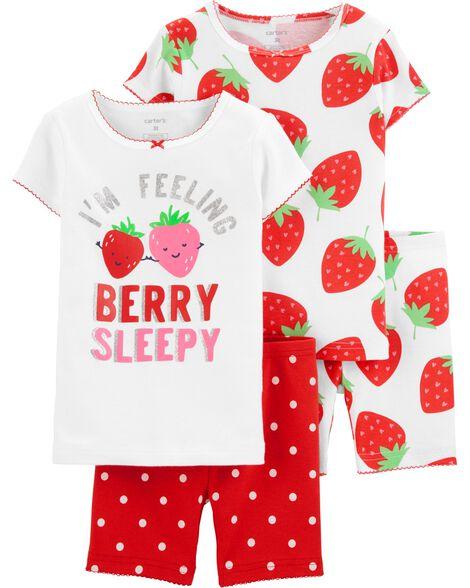 Pyjama 4 pièces en coton ajusté motif fraise