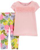 Ensemble 2 pièces t-shirt en jersey à smocks et legging fleuri, , hi-res