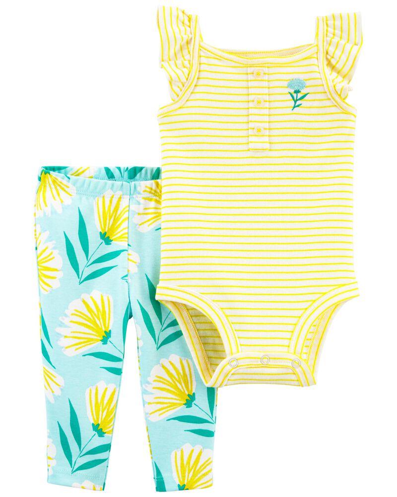 2-Piece Floral Bodysuit Pant Set, , hi-res