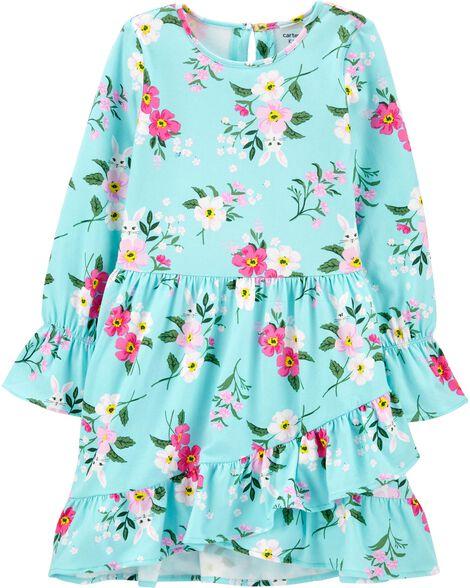 Floral Ruffle Jersey Dress