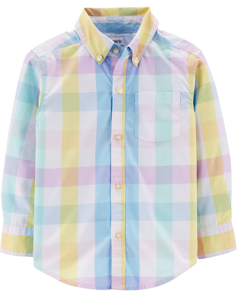 Chemise boutonnée en popeline à motif écossais, , hi-res