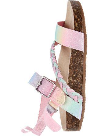 Sandales à boucle arc-en-ciel