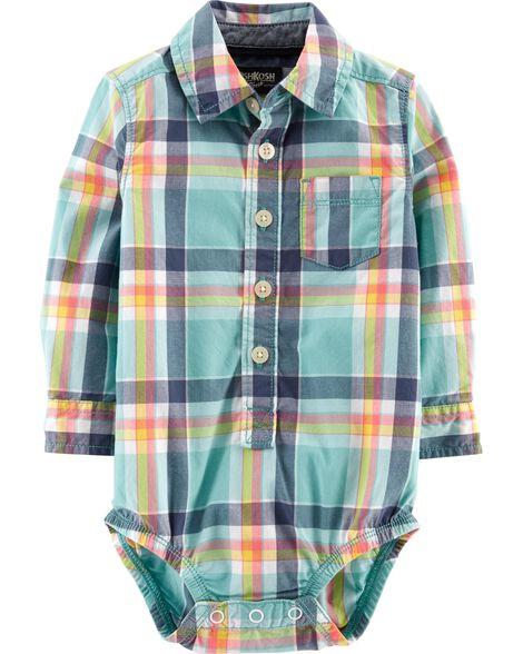 Button-Front Plaid Bodysuit