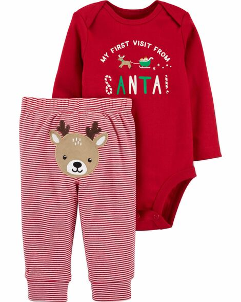 2-Piece Christmas Bodysuit Pant Set
