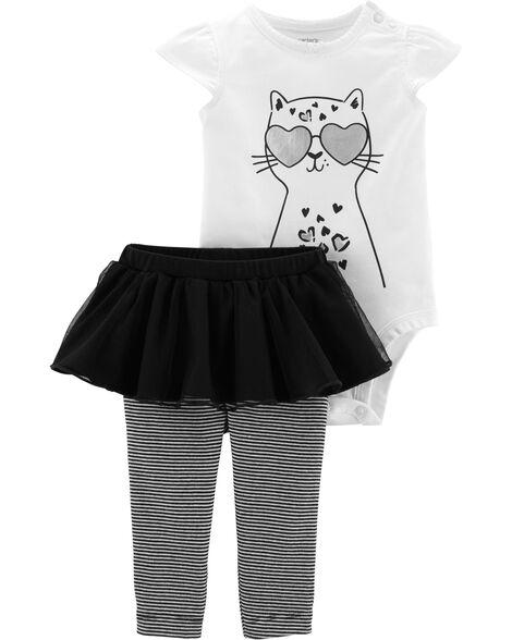 Ensemble 2 pièces cache-couche chat et pantalon à tutu