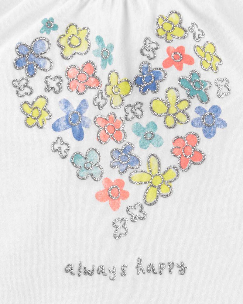 Ensemble 2 pièces t-shirt fleuri et short à motif écossais, , hi-res