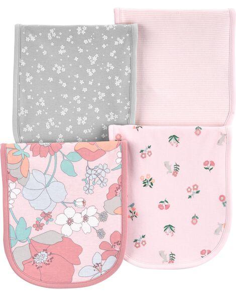 4-Pack Floral Burp Cloths
