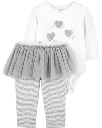 2-Piece Glitter Heart Bodysuit & Tu...