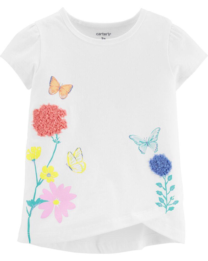 T-shirt en jersey à papillon et tulipes, , hi-res
