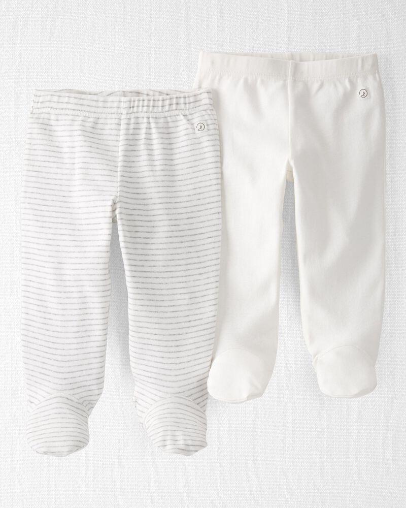 2-Pack Organic Cotton Rib Footed Pants, , hi-res