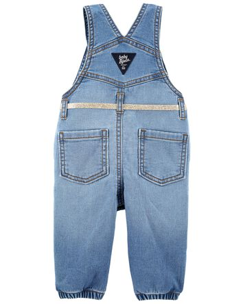 Stretchy Knit Denim Overalls
