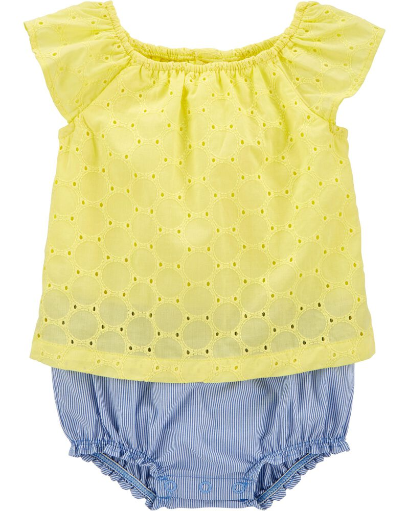 Embroidered Eyelet Sunsuit, , hi-res