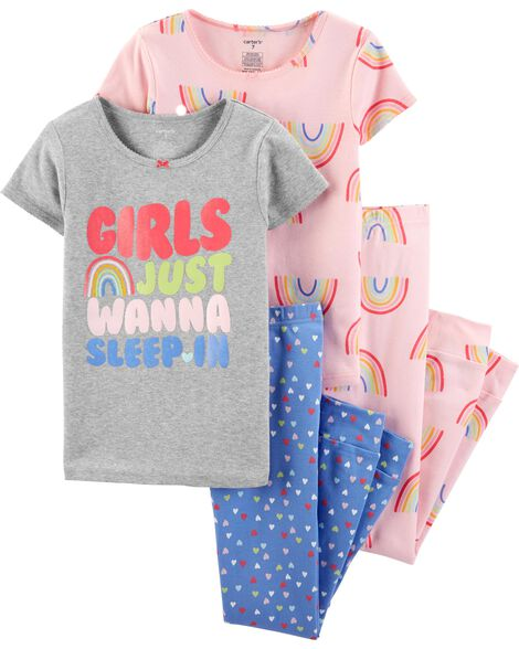 4-Piece Rainbow Snug Fit Cotton PJs