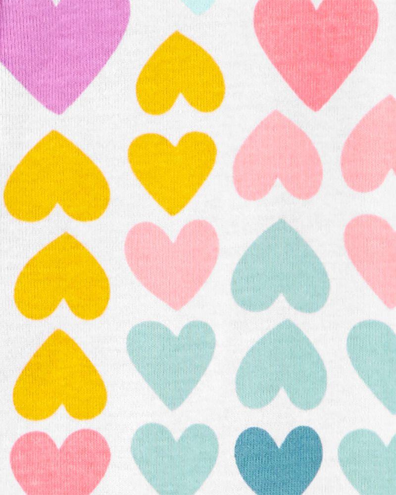 Pyjama 1 pièce à pieds en coton ajusté motif cœur, , hi-res
